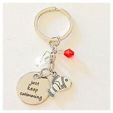 Finding Nemo Dory-Inspired Silver Keychain Just Keep Swimming Gift of Love
