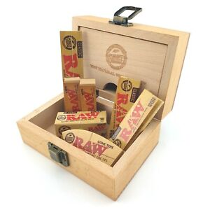 RAW Wooden Rolling Box Gift Set With RAW Smoking Papers & Tips