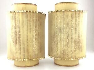 Hanging Lamp Shade Pair Fiberglass Mid Century Modern Atomic Vintage S675