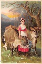 Cows Milkmaid Victorian Trade Card The Jerseys Marsh Burke Cox New Jersey