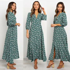 Women's Floral Printed Maxi Dress Ladies Casual Long Sleeve V Neck Dress