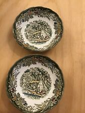 Set Of 2 Ridgway Heritage Early Canada Wigwam In The Forest Dessert Bowls