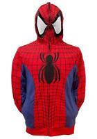 Mens Marvel Spiderman Costume Cosplay Hoodie See Thru Mask NWT XS,S,M,L,XL,2XL