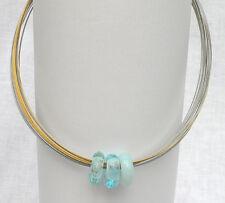Collier Stahlseide 37-fach 55 cm türkis Glas Glasperlen Unikatschmuck Handarbeit