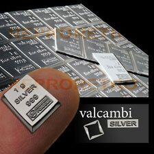 1 Gram 999 Pure Solid Fine Silver Bullion Valcambi Suisse Bar Investment COA