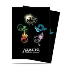 160 ULTRA PRO 5 MANA SYMBOLS BLACK DECK PROTECTORS SLEEVES MTG 2 Packs of 80