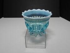 "Davidson Glass Lady Caroline Open Sugar 8 Petal Feet Blue Opalescent 2 3/4"" T"