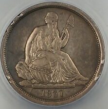 1837 Seated Liberty Silver Dime 10c ANACS VF-35 Details Tooled No Stars