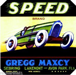 Sebring Florida Speed Orange Crate Label Art Print