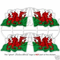 "WALES Welsh Flying Flag CYMRU UK British 50mm (2"") Vinyl Stickers Decals x4"