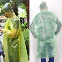 2 Emergency Disposable Rain Coat Raincoat Hood Poncho Camping DFC