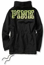Victoria's Secret PINK Anorak Jacket Black Neon Citrus Fleece Lined M Medium VS
