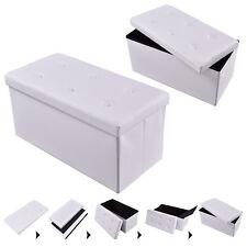 """Large Folding Storage Faux Leather Ottoman Pouffe Box Stool White 30""""x15""""x15"""""""