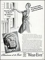 1940 Thanksgiving turkey Wear-Ever aluminum roaster vintage art print ad adL53