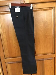 Chaps Boys' School Approved Performance Pleated Front Navy Pants Size 12 Slim