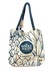 Whole Foods Hawaii Eco Friendly Reusable Tote beach Bag  Hawaiian Pineapple