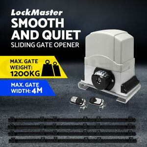 LockMaster Electric Sliding Gate Opener 1200KG Automatic Motor Remote Rail 4M