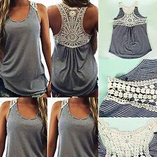 Fashion Women Summer Lace Vest Stripe Sleeveless Casual Tank Blouse Tops T-Shirt
