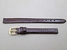 Hadley Roma lady's 8mm lug size genuine lizard watch band strap brown LS700