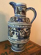 Antique Spouted German Salt Glaze Stoneware Beer Pitcher