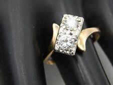Antique Unique Art Deco Dual Diamond Ring .90 tcw 14k YG Transitional Cut G/VS