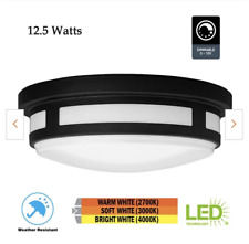 NEW Hampton Bay 11 in. 1-Light Round Black LED Indoor Outdoor Flush Mount Porch