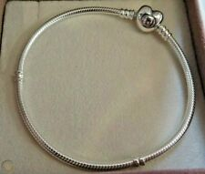 Moments Pandora 925 Sterling Silver Heart Clasp Snake Chain Heart Charm Bracelet