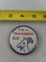 Vintage I'm A NORWEGIAN KID pin button pinback *EE82