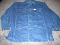 VINTAGE HUGO BOSS Men's LARGE BLUE JEAN DENIM JACKET HEAVY COAT BOSS JEANS