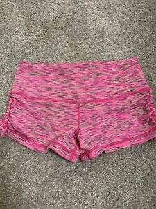 Juniors Mid Rise Casual Shorts Sports Hot Pants Booty Gym Fitness Briefs—Pink