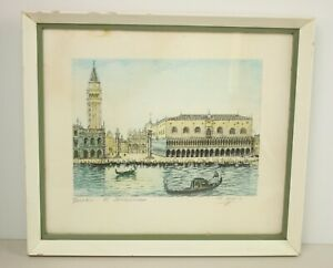 Vintage 1950's Framed Coloured Etching Print Of Venice And Gondolas