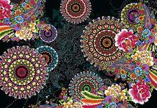 """Murales papier peint photo composition abstraite """"noir & fleurs"""" chambre décor"""