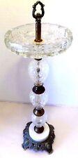 Vintage Ornate Brass & Crystal Standing Ashtray