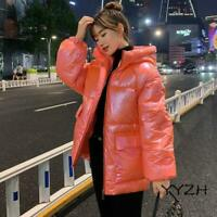 Winter Women Glossy Down Cotton Jacket Hooded Warm Thicken Casual Coat Pockets