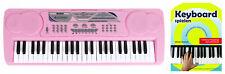 Digitales 49-Tasten Keyboard Set E-Piano Schüler Noten Kinder Demo Pink