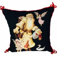 Vintage Imperial Elegance Needlepoint Cotton  Wool Christmas Pillow Santa Claus