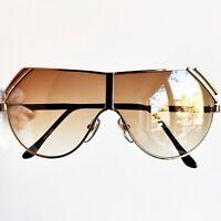 occhiali da sole GIANNI VERSACE mask sunglasses vintage rare shield gold brown