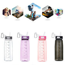 Sports water Bottle With Time Marker Straw and Handle Water-Jug For-Fitness