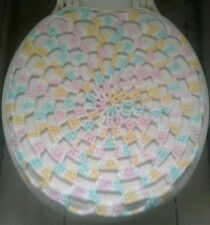 Handmade Crochet Round Toilet Lid/Seat Cover Pastel Pink/Yellow Mixed