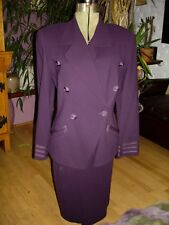 New listing Vint. Linda Allard For Ellen Tracy Jacket Skirt Set Plum Color Size 8 Hong Kong