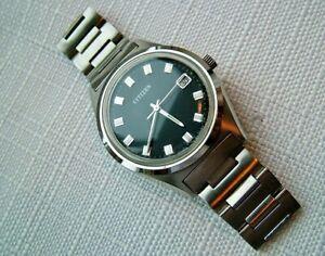 1985 Rare Men's Citizen 53-1090 Mechanical 17 Jewel Handwind Date Watch. Working