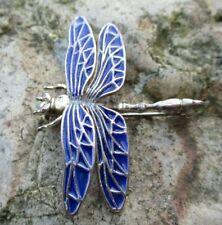 Seltene alte Libellen Brosche 925 Silber Emaille blau Meisterpunze 3,8 cm Top