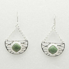 Barse Jewelry Silver Plated and Green Picture Jasper Earrings