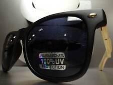 CLASSIC VINTAGE 70's RETRO SUN GLASSES Matte Black & Bamboo Wood Frame Dark Lens