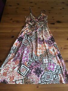 Jane Norman Size 10 Multicoloured Patterned Dress Stretch Plaited Straps Short