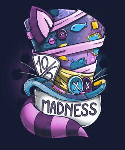 Madness M MEDIUM T-SHIRT Cheshire Cat Mad Hatter Alice In Wonderland Tea Party