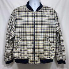 Brooks Brothers Men's Plaid Basic Jacket Size L Zip Down Yellow White Blue