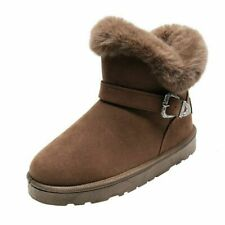 Women's Ladies Winter Warm Ankle Boots Fur Lined Snow Booties Casual Flats Shoes