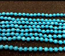 100 INCH TURQUOISE BLUE HOWLITE NECKLACE HAND KNOTTED  918.5 CARATS