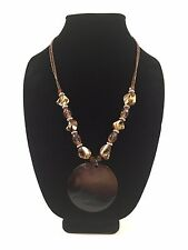 Fashion Jewelry Necklace Brown Taupe Gold Stones easy clasp excellent condition